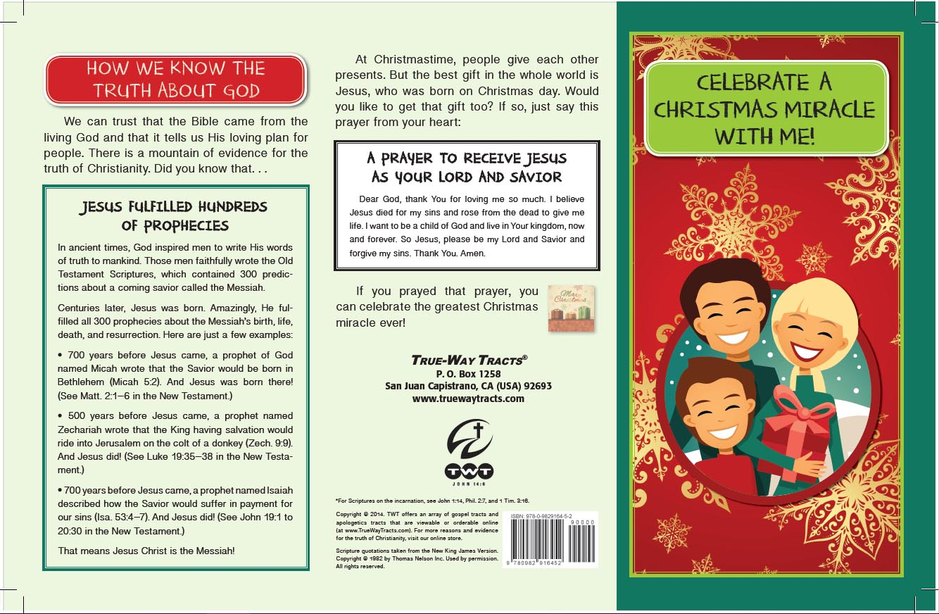 Christmas Gospel Tracts.Sample Tract Contents True Way Tracts